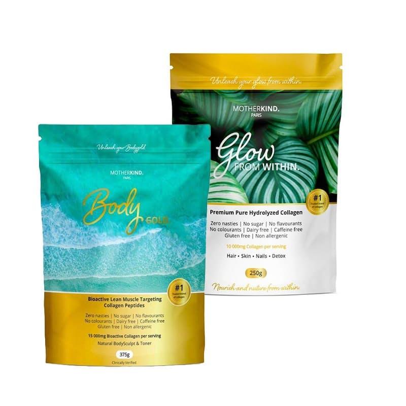 Glow Premium Pure Hydrolysed Collagen & Body Gold Performance Collagen Peptides Powder Set