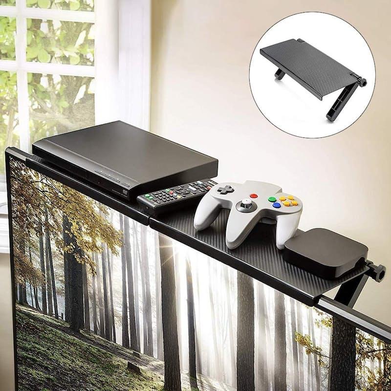 Pack of 2 Adjustable Instant Shelves for TV and Desktop Monitors