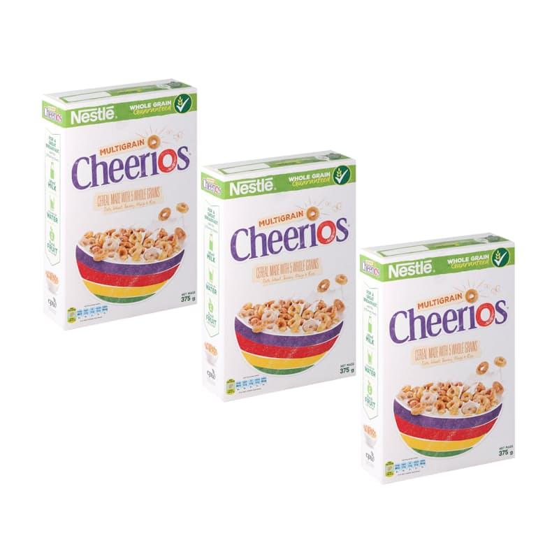 Pack of 3 375g Cereals (Milo, Cheerios or Honey Cheerios)