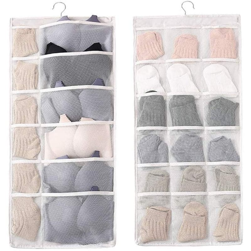 30 Pocket Cream Sock and Bra Storage Organiser