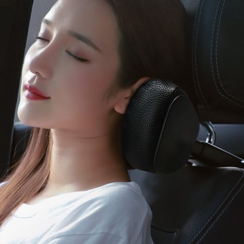First Class Car Headrest, PU Leather with Adjustable Support Memory Foam