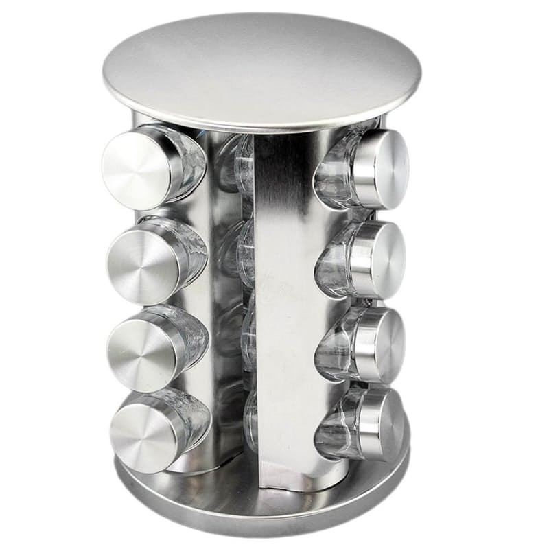 Stainless Steel Rotating Spice Rack with 12 or 16 Jars