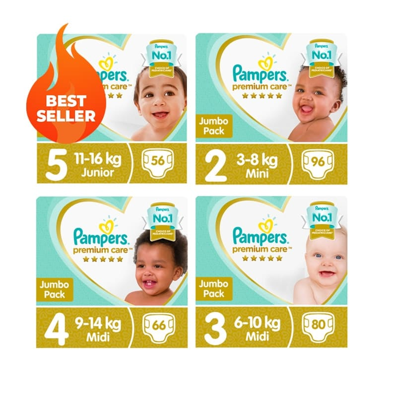 Pack of 2 Premium Care Nappies From R2,49 per Nappy (Multiple Sizes Available)
