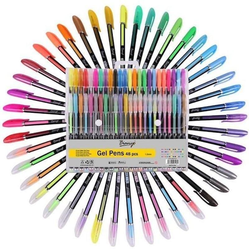 48pc Glitter, Neon, Gouache and Metal Gel Pen Set