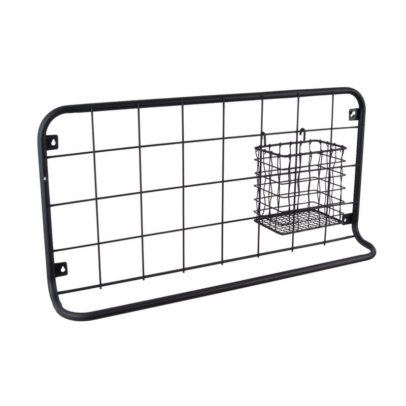 Kitchen Wired Wall Rack with Basket & Storage Hooks