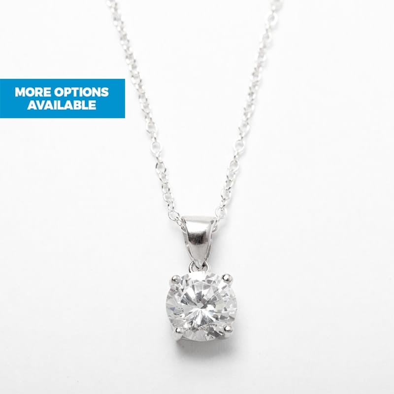 Silver Solitaire Pendant and Chain Set with Cubic Zirconia Stones