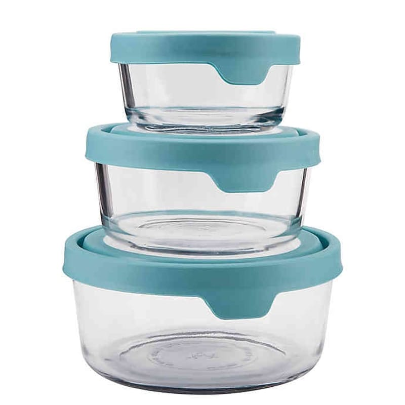 3 Round Glass Storage Container with True Seal Lid(Multiple Sizes)