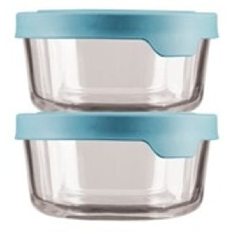 2 Round Glass Storage Container with True Seal Lid (Multiple Sizes)