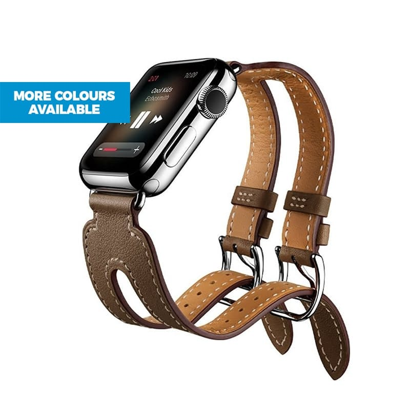 Double Buckle Leather Replacement Strap for Apple Watch