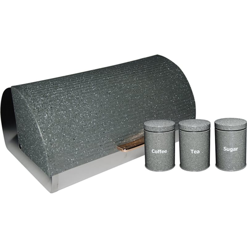 3 Piece Canister Set & Dotted Bread Bin
