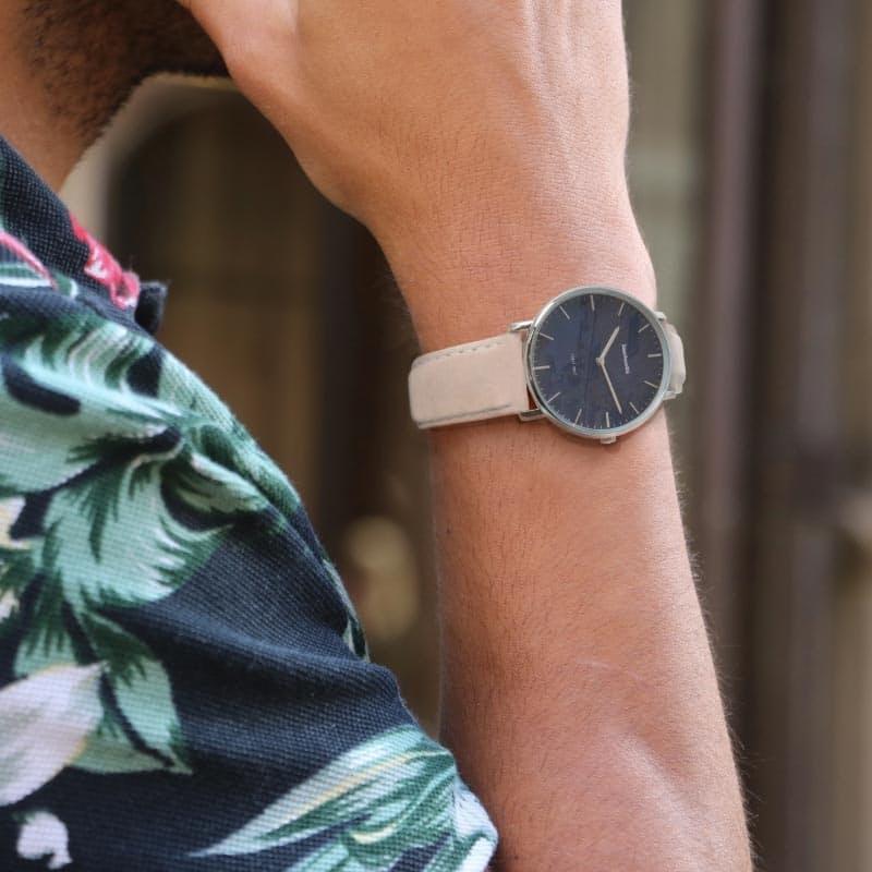 Men's Angelo Azzurro Suede Leather Watch (Blue)