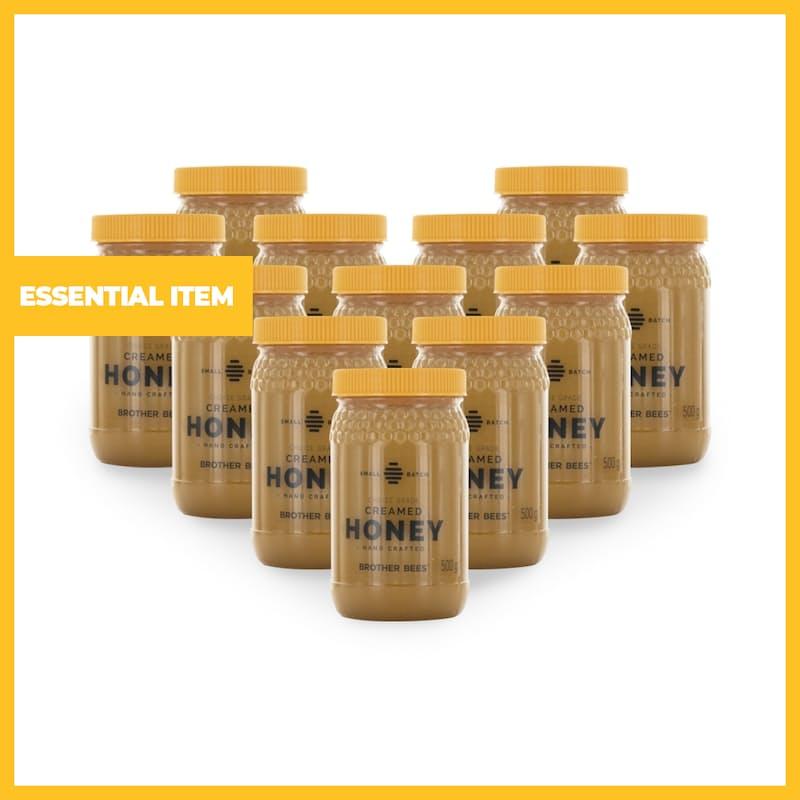 Pack of 12 Creamed Raw Honey (500g)