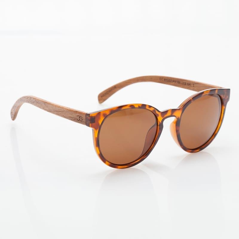Ladies Round Tortoise Frame Polarized Bamboo Sunglasses Brown Lenses