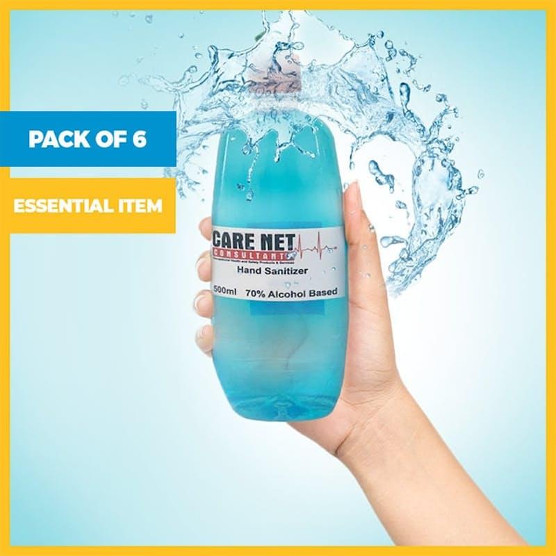 Pack of 6, 500ml, 70% Alcohol Liquid Hand Sanitiser