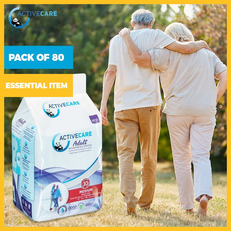 Pack of 80 Adult Incontinence Diapers (Size M-XL)