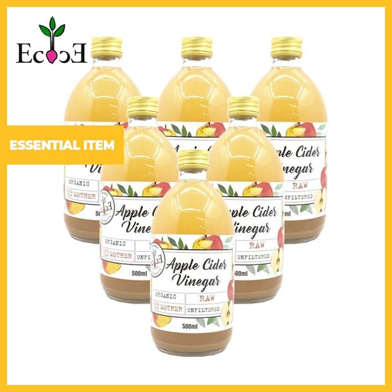 Pack of 6, 500ml Organic Raw Apple Cider Vinegar