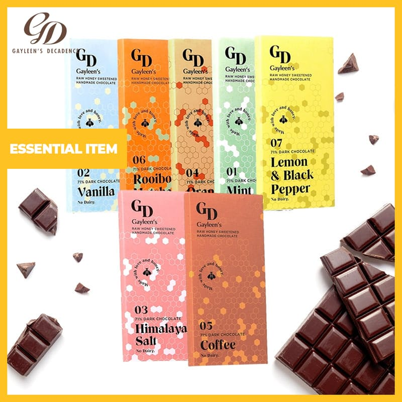 Pack of 10, 100g Dairy-free Raw Honey-Sweetened 71% Dark Chocolate Slabs (Multiple Flavours Available)
