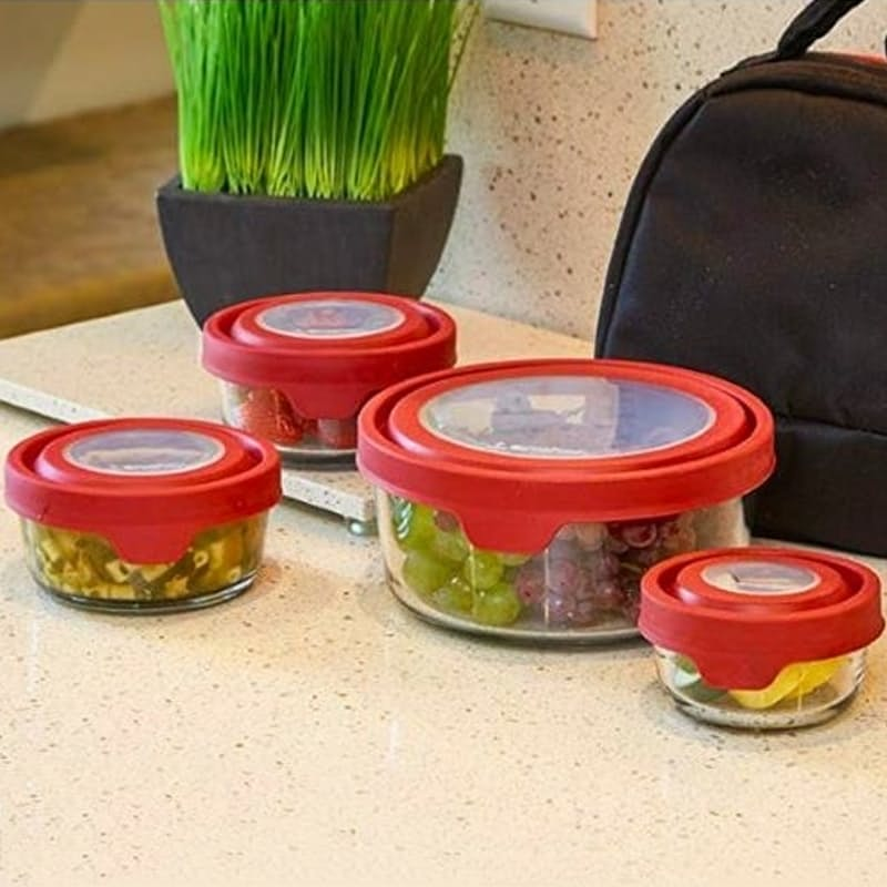 Set of 4 Round Glass Storage Containers with Cherry Trueseal Lids (240ml, 500ml, 1000ml, 1650ml)