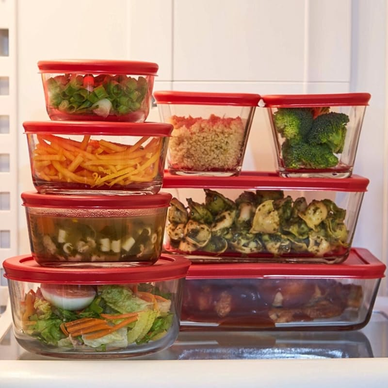 Set of 8 - BPA Free Glass Storage Containers with Red Plastic Lid