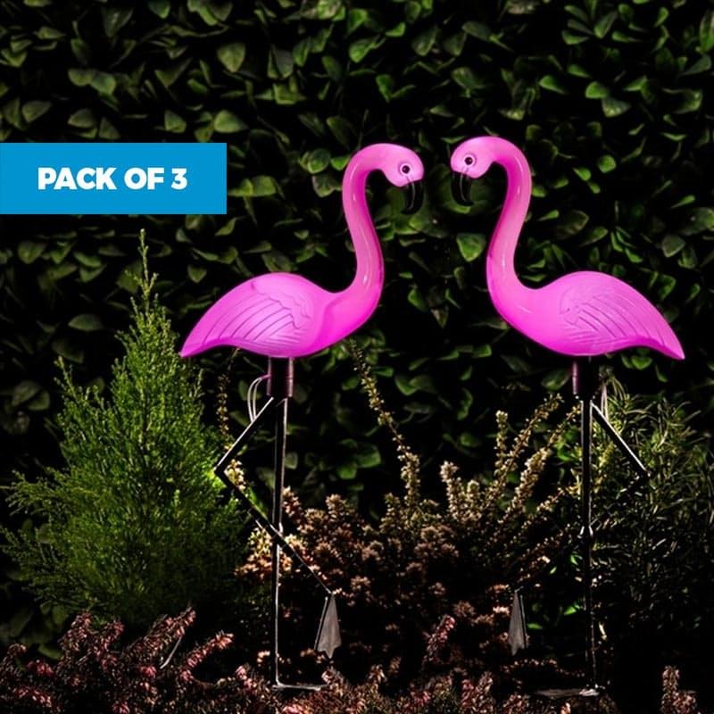 Pack of 3 Flamingo Standing Solar Lights