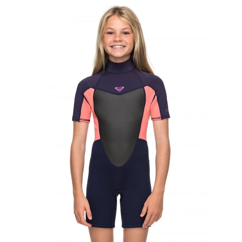 Girls 2.2mm Short Sleeve Back Zip Springsuit