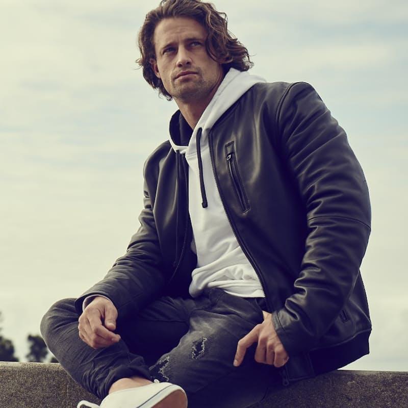 Men's Keitel Standing Collar Bomber Leather Jacket
