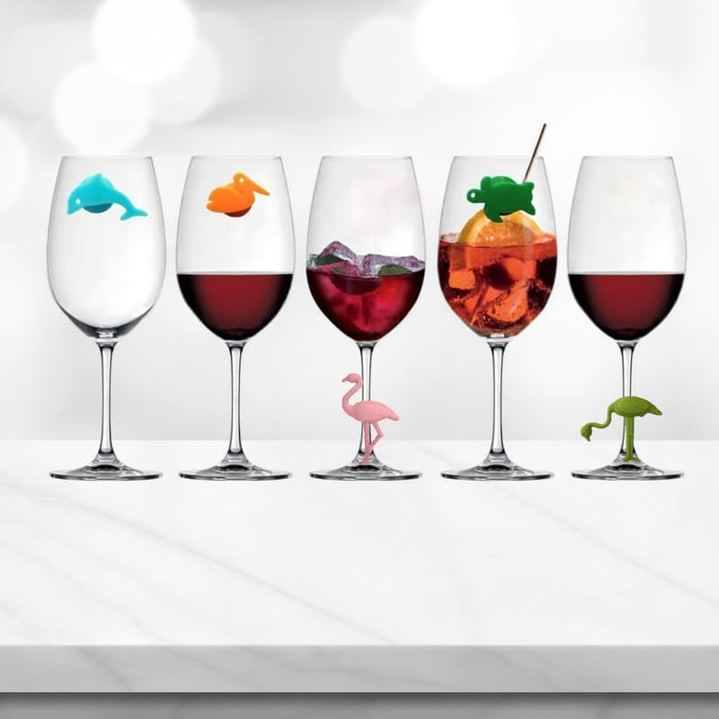 Set of 6 or 12 Silicone Wine Glass Markers