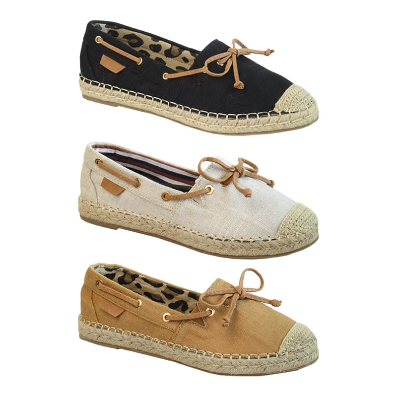 Ladies Classic Canvas Espadrille with Knot Detail