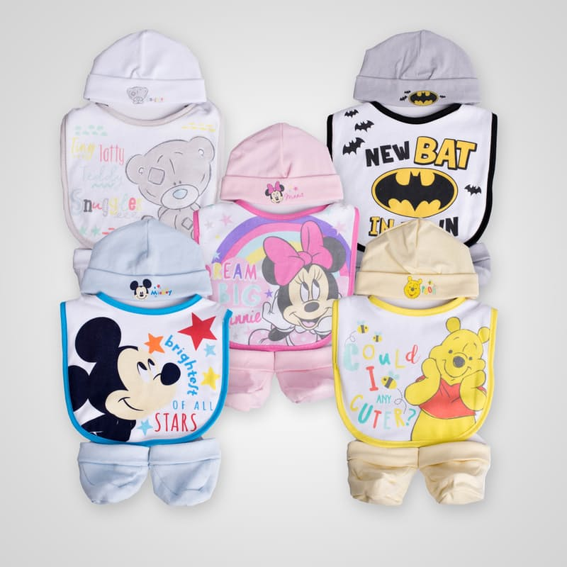 Pack of 2 Newborn Sets (Includes Beanie, Bib & Booties)