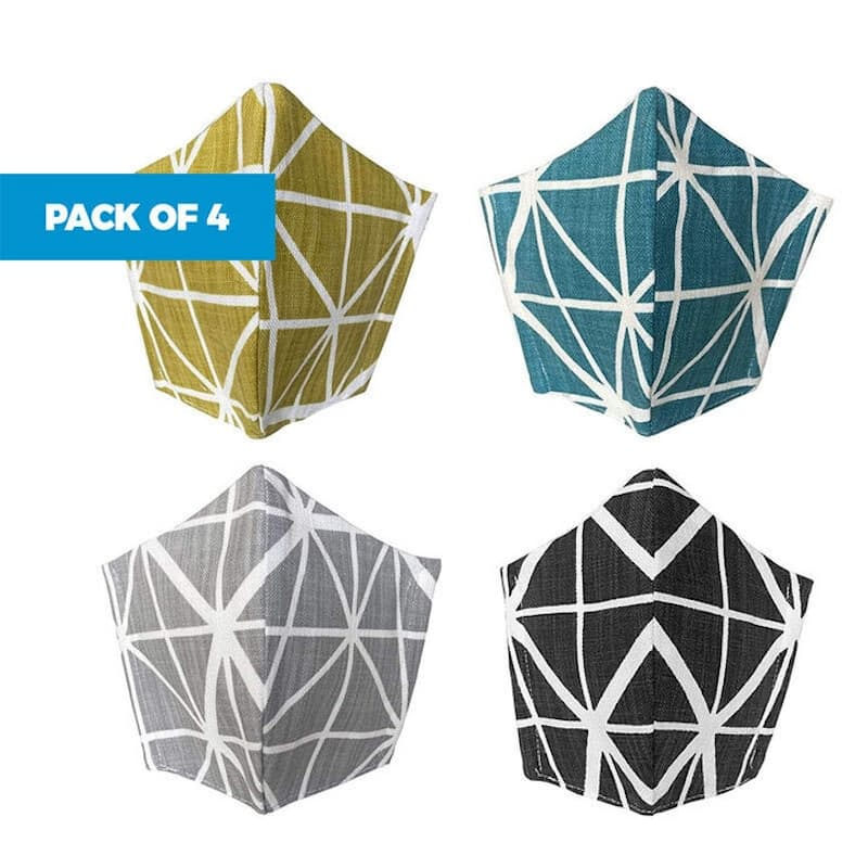 Pack of 4, 3-Layer 100% Cotton Masks