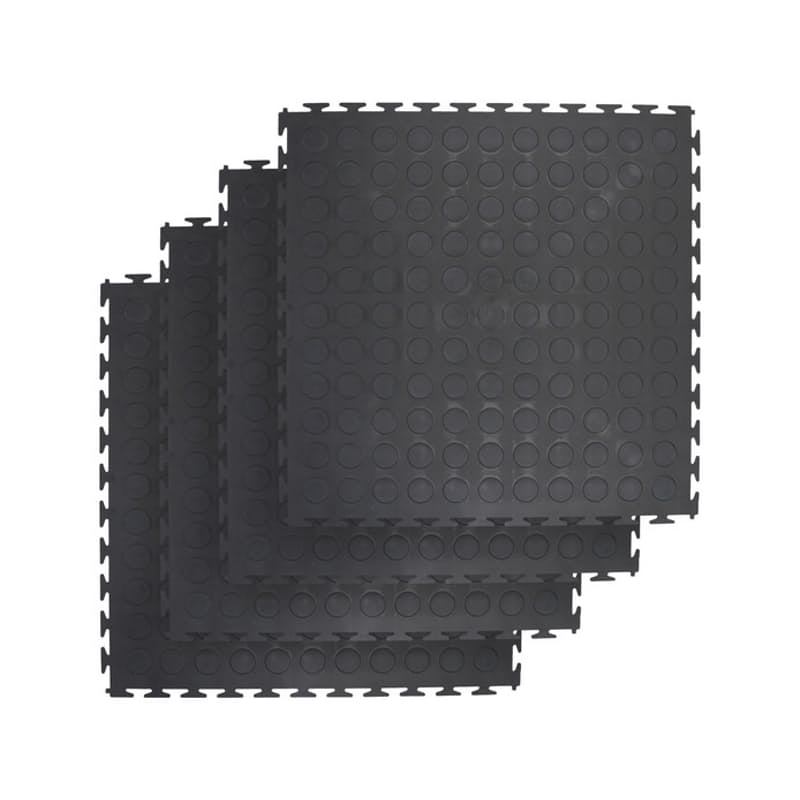Pack of 4 Interlocking PVC Rubber Tiles (50cm x 50cm each)