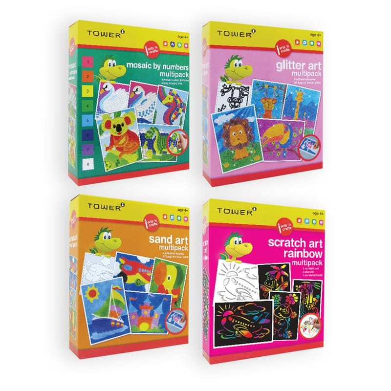 Pack of 4 Sand, Glitter, Mosaic and Scratch Art Bundle
