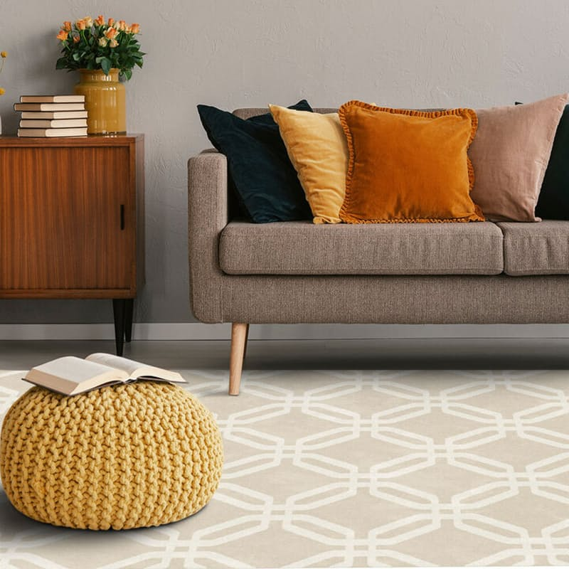 Hard Wearing Sand Hexagon Canvas Rug (More Sizes Available)