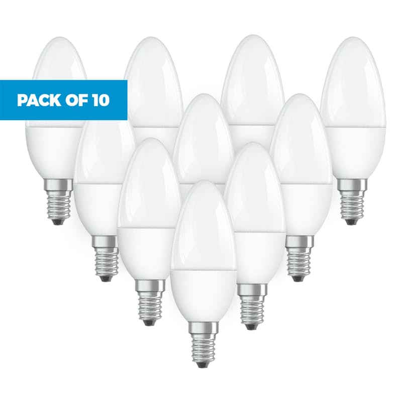 Pack of 10 Mini-Candle Warm White or Daylight Light Bulbs