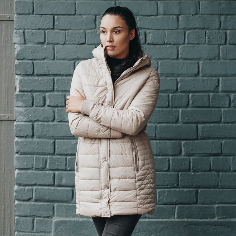 Ladies Cruelty-free Long Hooded Puffer Jacket