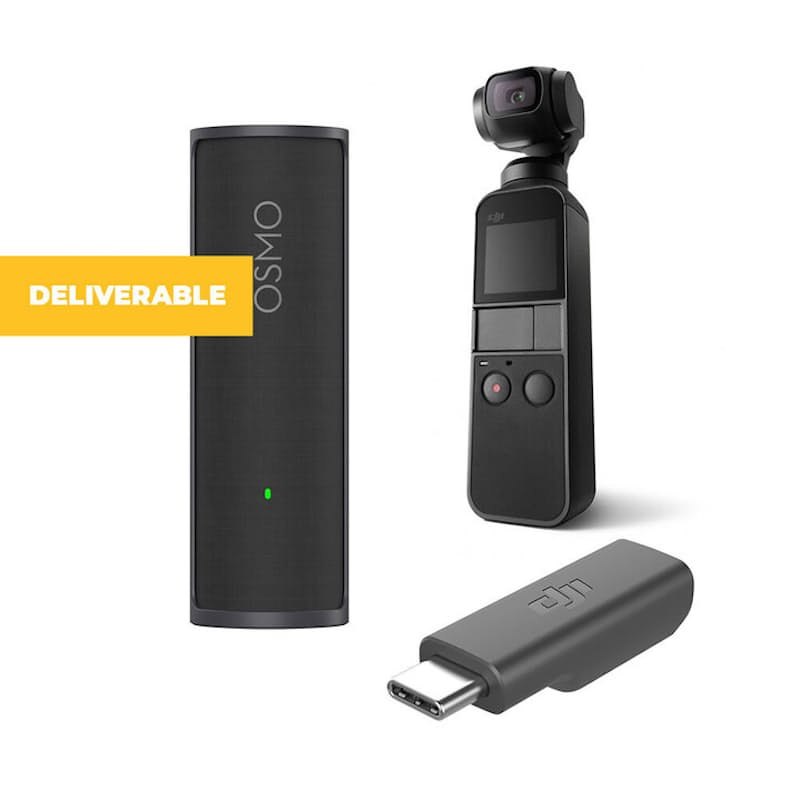 Osmo Pocket Handheld Camera with Charging Case and Mic Adapter