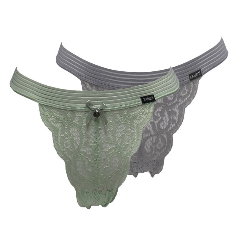 Pack of 2 Lace Tanga Thongs (Dusty Mint & Silver)