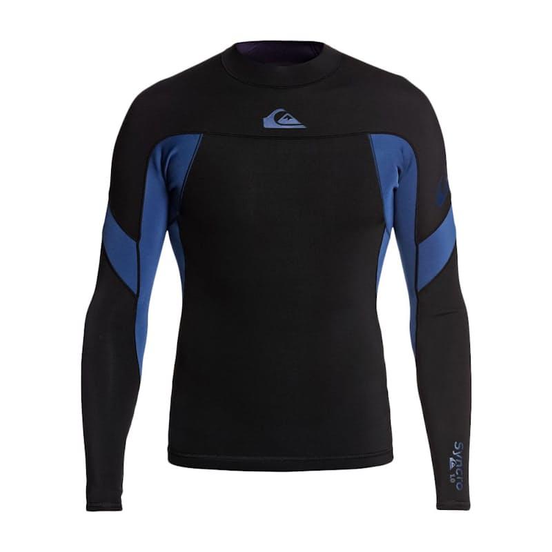 Men's 1mm Syncro Long Sleeve Black/Iodine Blue Neoprene Surf Top