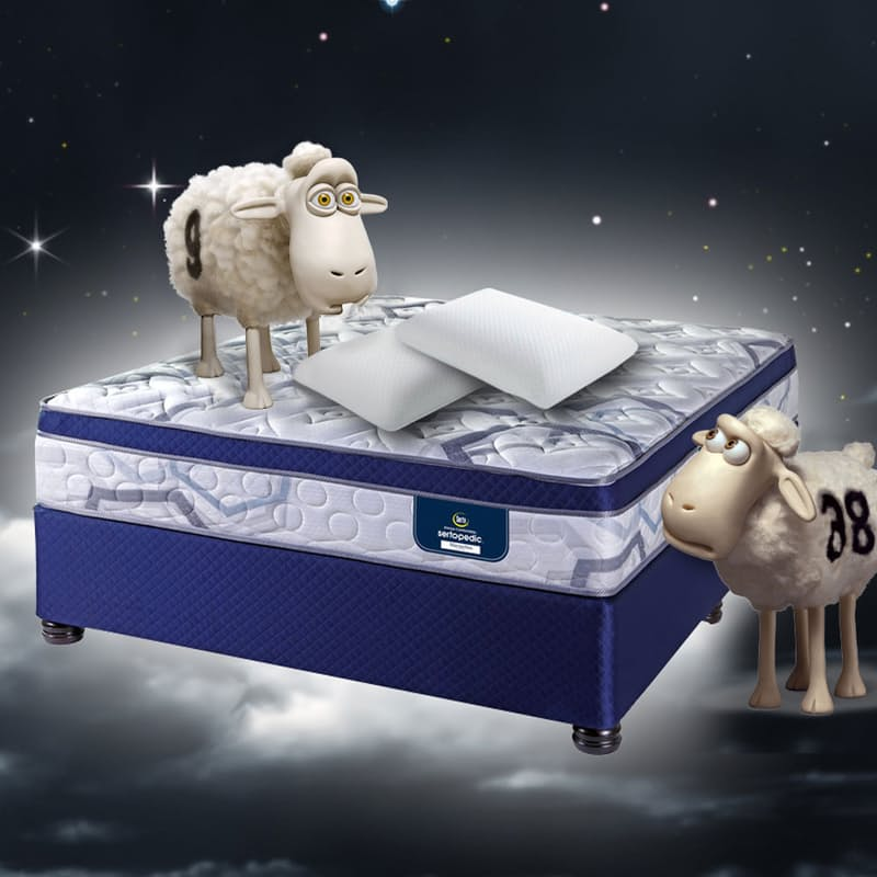 SertaPedic Marseilles Comfort Top Technology Flip Free Medium-Firm Bed Set with 2 High Density Memory Foam Pillows & Mattress Protector