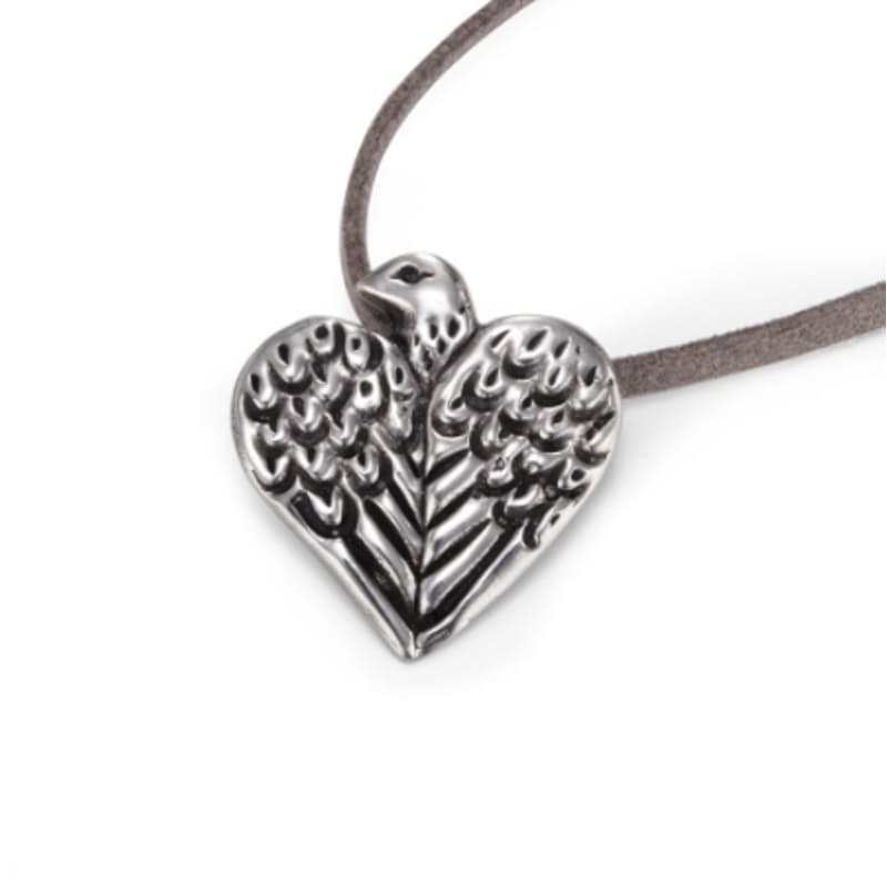 Bird Heart Pewter Pendant
