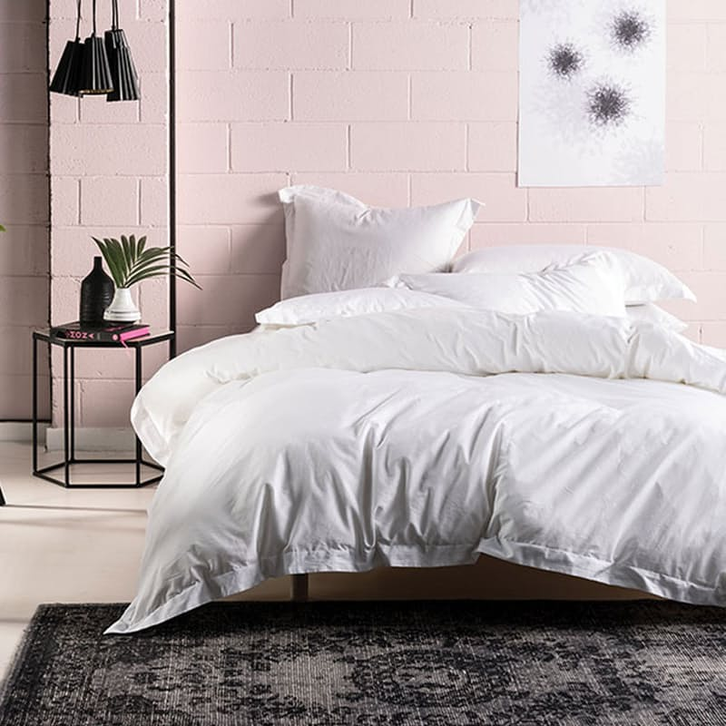 400TC White Bamboo Cotton Double Duvet Cover Set