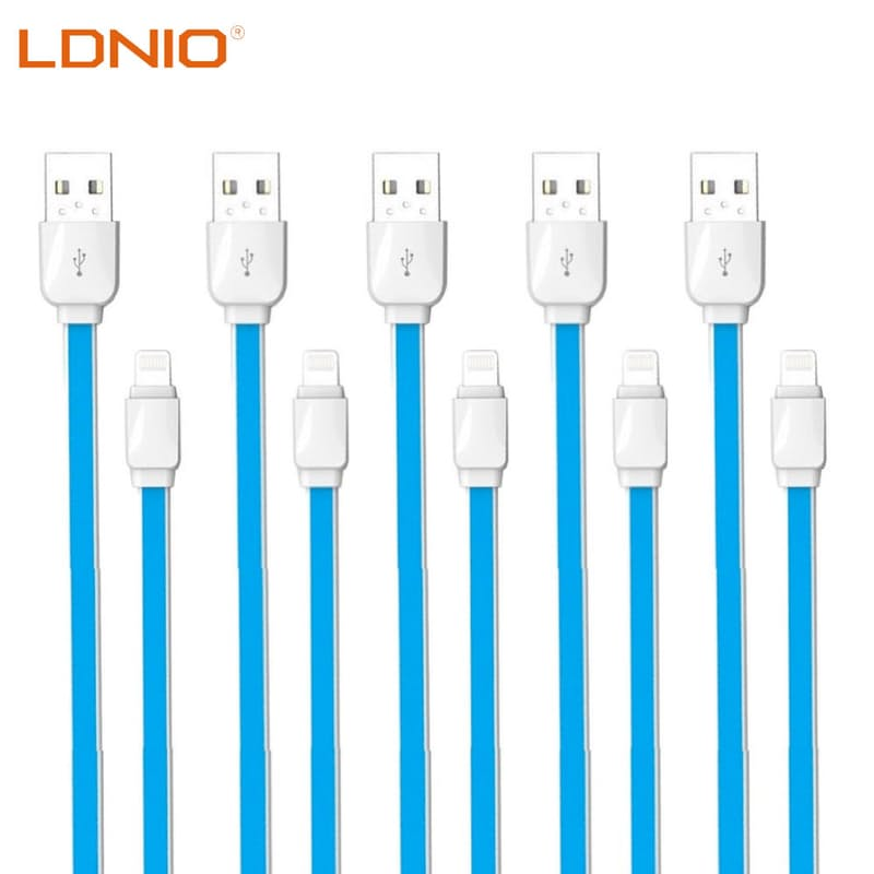 Pack of 5 2.1A/2.4A Fast Charging 1m Lightning, Micro USB or Type-C Flat Data Cables