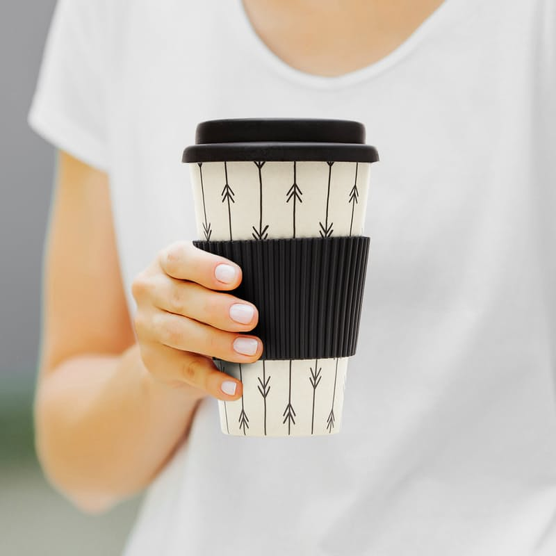 400ml Eco Friendly Bamboo Fibre Travel Mug with Leak-Proof Lid