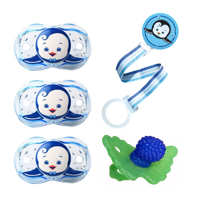 Pack of 4 Keep-it-Clean Pacifier, Holder or Teether Set