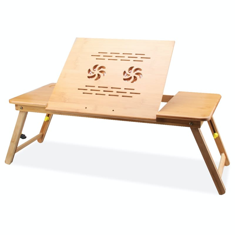 Multi-Functional Bamboo Laptop Table with Ventilation Holes