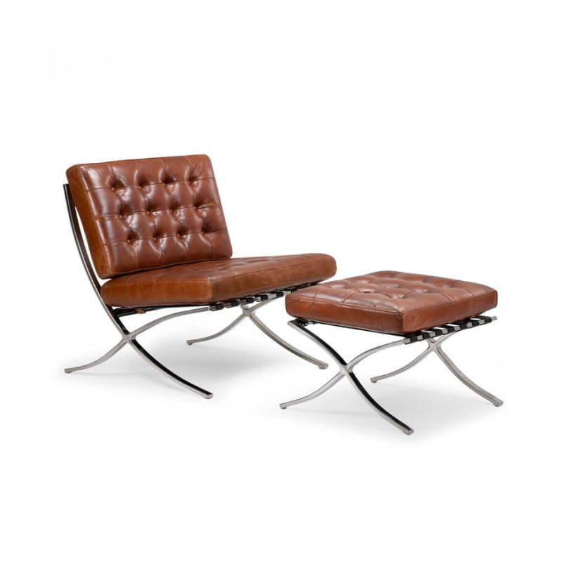 Leather Chair with Footstool