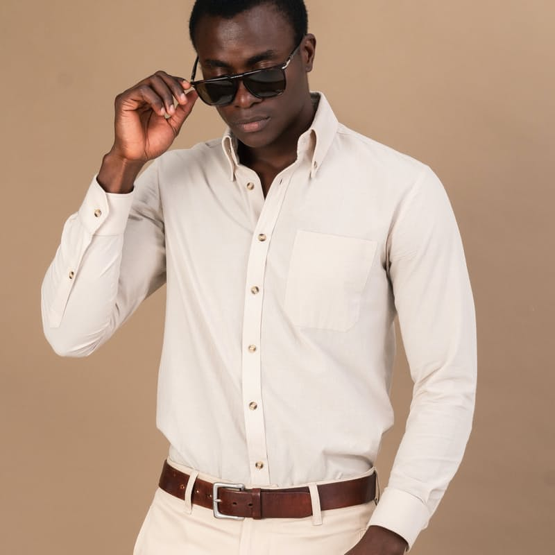 Men's Textured Cotton Buttoned Down Shirt