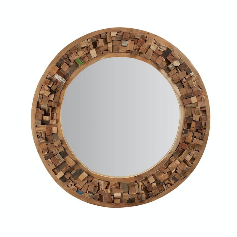 90cm Appleton Round Wood Teak Mirror