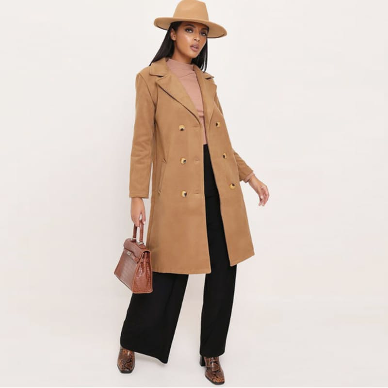 Ladies Camel Double Breasted Coat