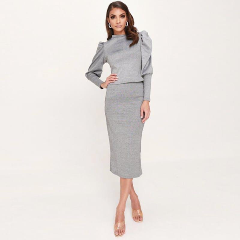 Ladies Formal Top & Midi Skirt Full 2-Piece Set